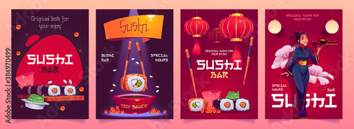 Tablou Canvas Sushi bar flyers with japanese food, red asian lanterns and waitress in kimono