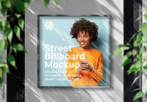 Obraz Square Billboard Hanging on Sunlit Wall Mockup - fototapety do salonu