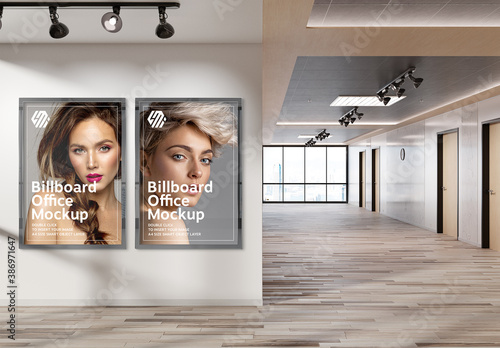 Obraz 2 Vertical Billboards Hanging on Office Wall Mockup - fototapety do salonu