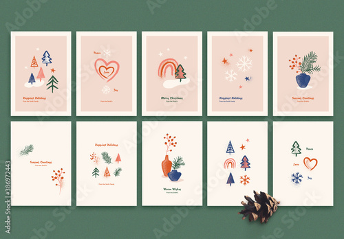 Obraz Holiday Card Layout Set with Illustrations - fototapety do salonu