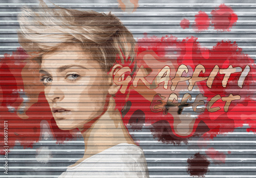 Obraz Graffiti Photo Effect on Garage Door Texture Mockup - fototapety do salonu