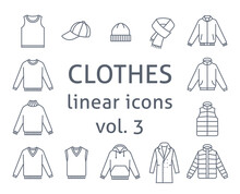 Men Clothes Flat Line Vector Icons. Simple Linear Symbols Of Male Basic Garments. Main Categories For Online Shop. Outline Infographic Elements. Contour Silhouettes Of Sweaters, Jackets, Hats, Coat