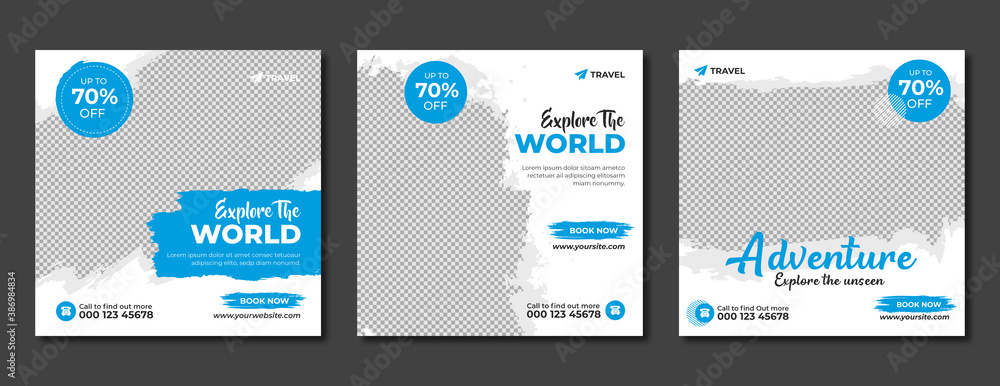 Fototapeta Set of travel sale social media post template. Web banner, flyer or poster for travelling agency business offer promotion. Holiday and tour advertisement banner design.
