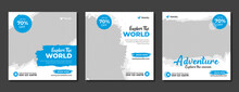 Set Of Travel Sale Social Media Post Template. Web Banner, Flyer Or Poster For Travelling Agency Business Offer Promotion. Holiday And Tour Advertisement Banner Design.