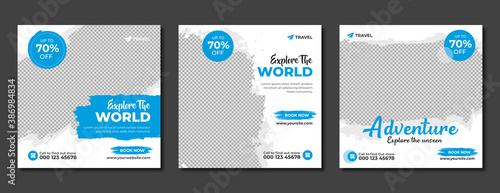 Obraz Set of travel sale social media post template. Web banner, flyer or poster for travelling agency business offer promotion. Holiday and tour advertisement banner design. - fototapety do salonu