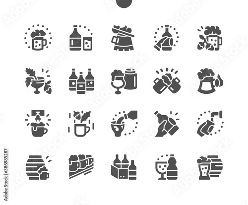 Craft beer. Pub food. Delicious beer snack. Glass of beer on the bar. Barrel of beer. Menu for restaurant and cafe. Vector Solid Icons. Simple Pictogram - 386985287