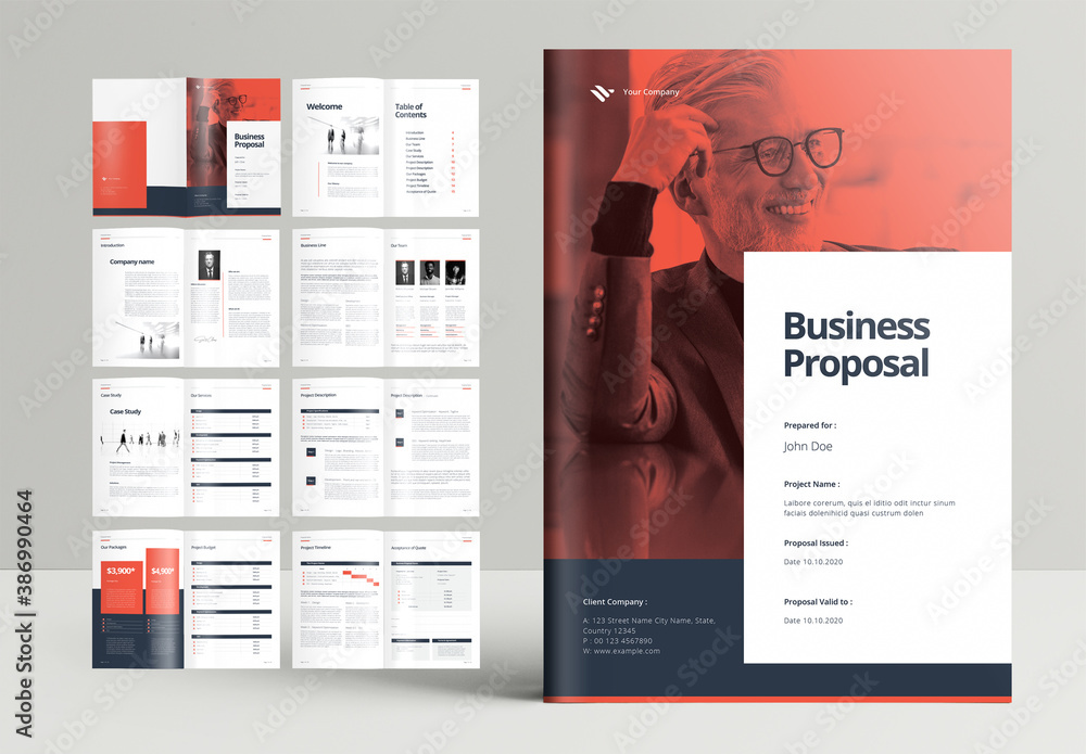 Fototapeta Professional Business Proposal Brochure Layout with Orange Accents