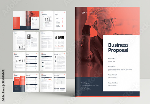 Professional Business Proposal Brochure Layout with Orange Accents