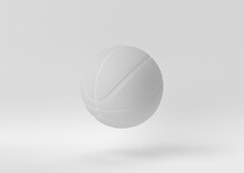 Creative Minimal Paper Idea. Concept White Basketball With White Background. 3d Render, 3d Illustration.