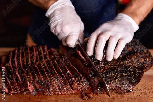 Fototapeta Texas brisket. Grilled meat, barbecue obraz