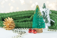 Green Pine And Decorations For Christmas