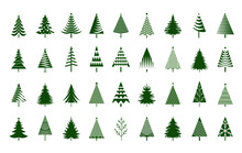 A Set Of Green Christmas Tree. Vector Illustration And Icon.