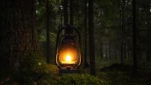 Old Rusty Oil Lamp In Dark Autumn Forest. Mystical Scene With Old Kerosene Lantern Outdoor. Halloween Concept.