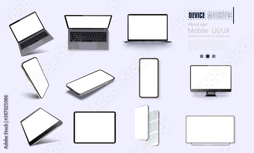 Vector minimalistic 3d isometric illustration set device. Smartphone, laptop, tablet, tv perspective view. Side and top view. Mockup generic device.