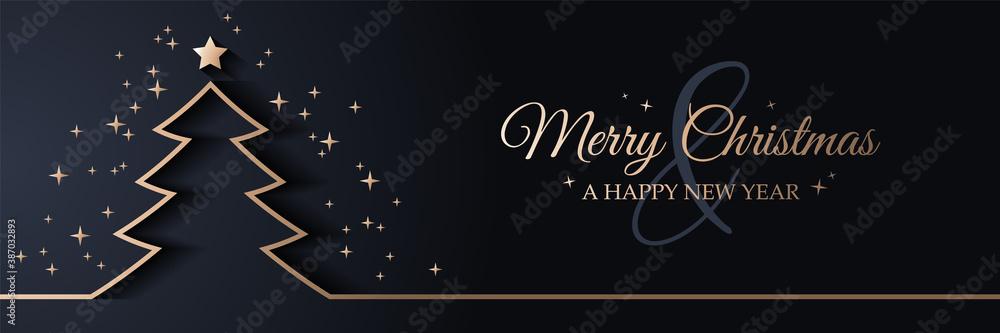 Fototapeta Merry christmas card banner with christmas tree golden line art illustration