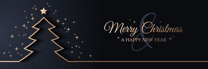 Merry christmas card banner with christmas tree golden line art illustration