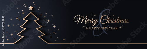 Fototapeta Merry christmas card banner with christmas tree golden line art illustration obraz