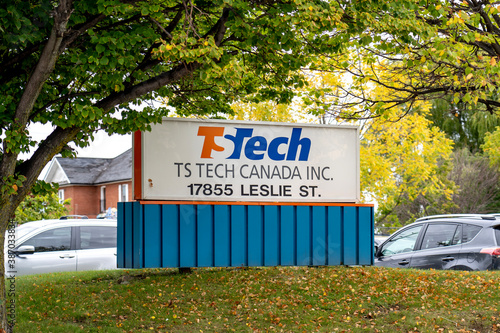 Naklejka premium Newmarket, Ontario, Canada- October 3, 2020: TS Tech Canada sign is seen in Newmarket, Ontario. TS Tech is a Japanese auto parts manufacturer.
