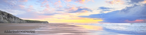 White chalk cliff of Cap Blanc Nez on the coast of France at the Strait of Dover (Pas de Calais) during sunset Wallpaper Mural