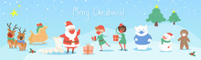 Set Of Christmas Characters In Masks Social Distance In Snowy Scene Shopping Gift Delivery. Kawaii Cute Style Flat Vector Style With Sleigh Polar Bear Reindeer Santa Snowman Trees Kids Invitation Card