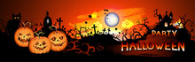 Vector Halloween Illustration With Pumpkins Head, Sinister Castle, Cemetery, Bats And Text On Nightly Background With Full Moon. Party Halloween.
