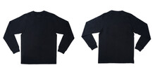 Black Long Sleeve T Shirt Front And Back View Isolated On White Background.