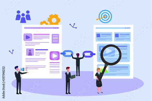 Obraz SEO vector concept: Business team analyzing link building on website for search engine optimization - fototapety do salonu