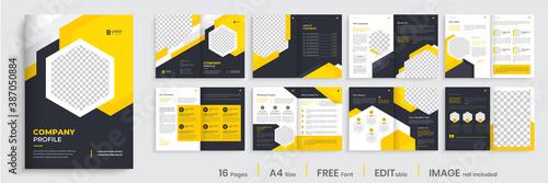 Fototapeta Brochure template layout design, minimal business brochure orange color shape design, annual report, company profile, editable template layout. obraz