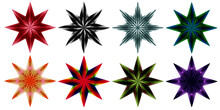 Set Of 8 Christmas Stars / Sno...
