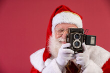 Santa Claus Holding Vintage Ca...