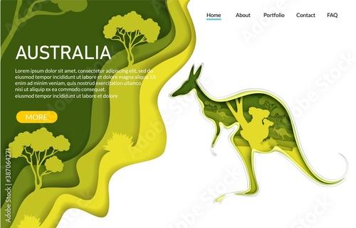 Obraz Australia vector website template, landing page design for website and mobile site development. Paper cut craft kangaroo silhouette with Australian nature, koala bears inside. Travel to Australia. - fototapety do salonu