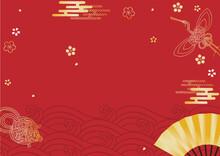 お正月背景 水引きの鶴と亀