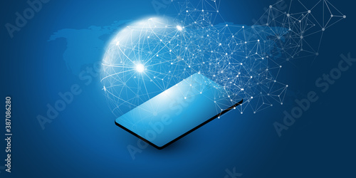 Abstract Blue Minimal Style Cloud Computing, Networks Structure, Telecommunications Concept Design, Network Connections, Transparent Geometric Mesh with Mobile Device - Vector Illustration