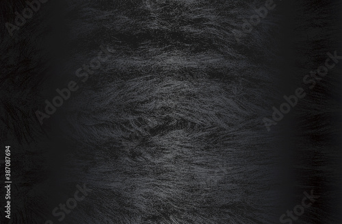 Fotografiet Luxury black metal gradient background with distressed natural fur texture