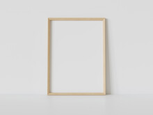 Wooden Frame Leaning On White Floor In Interior Mockup. Template Of A Picture Framed On A Wall 3D Rendering