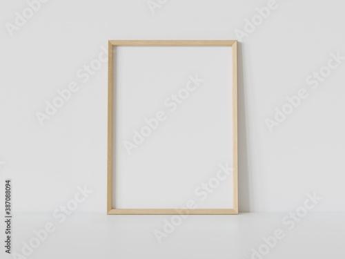 Wooden frame leaning on white floor in interior mockup Fotobehang