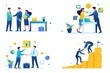 Set of web design on the topic of cooperation between companies, business. Flat 2D. vector illustration
