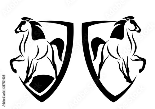 Photo beautiful mustang horse and heraldic shield - black and white vector coat of arm