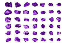 Purple Gem Stones Set White Background Isolated Close Up, Raw Gemstones Collection, Shiny Rocks, Rough Natural Nuggets, Precious Crystals, Mineral Samples, Amethyst, Sapphire, Topaz, Spinel, Tanzanite