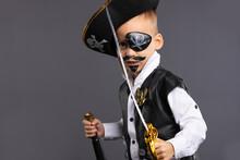 A Kindergarten Boy In A Pirat...