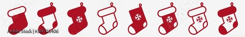Fotografie, Obraz Christmas Stocking Icon Set Red | X-Mas Stockings Vector Illustration Set | Xmas