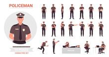 Policeman Poses Vector Illustr...