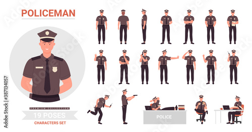Obraz Policeman poses vector illustration set. Cartoon police officer man character working in office or street, cop guard person wearing uniform posing in work or rest postures collection isolated on white - fototapety do salonu
