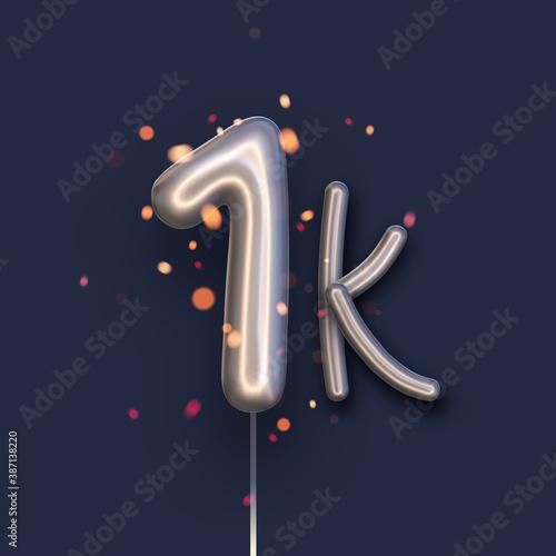 Billede på lærred Silver balloon 1k sign on dark blue background.