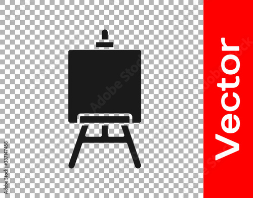 Canvas Print Black Wood easel or painting art boards icon isolated on transparent background