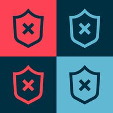 Pop Art Shield With Cross Mark...