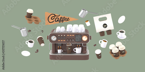 Obraz Coffee shop 3D render - coffee machine -modern concept digital illustration of a coffee maker with cups on the top, surrounded by takeout coffee packs and cups. Creative landing web page header - fototapety do salonu