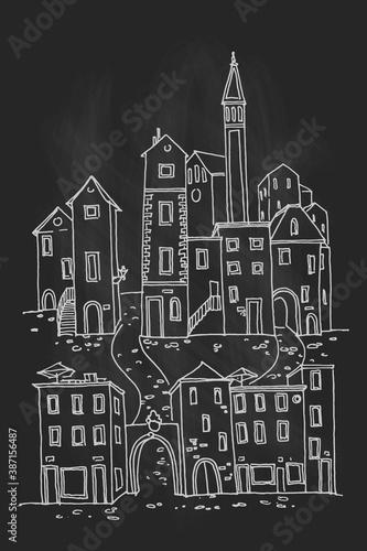 Canvas Print Vector sketch of architecture of Rovinj, Croatia.