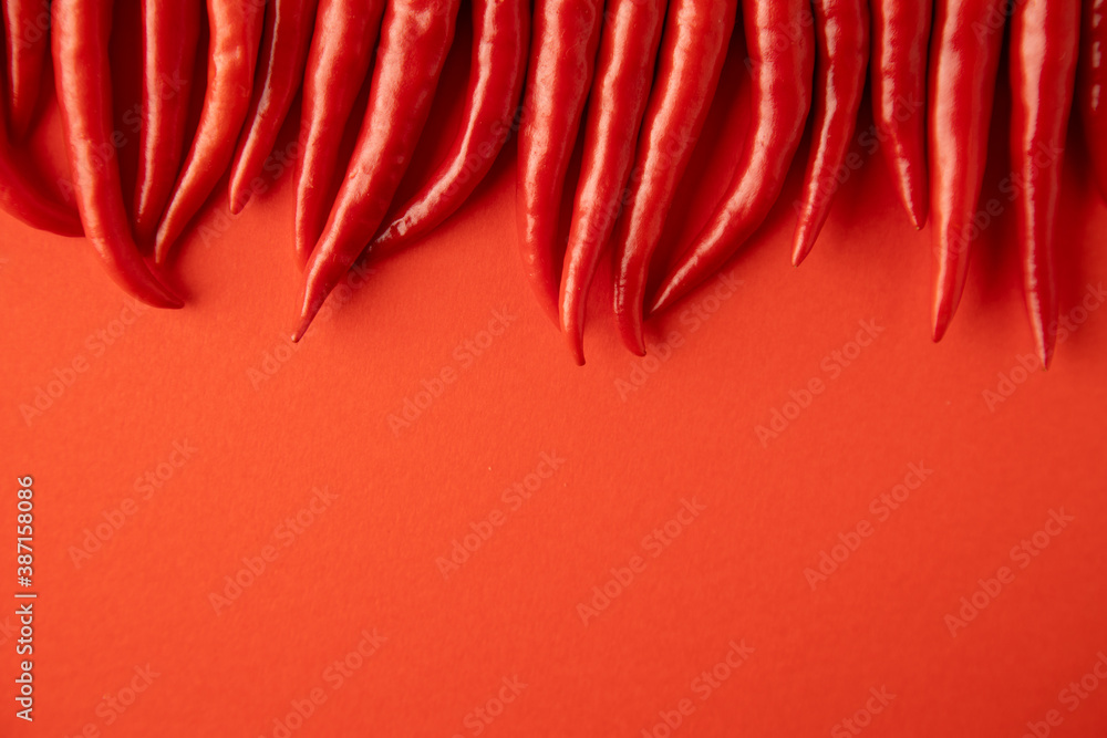 Fototapeta spicy red chili pepper on red background