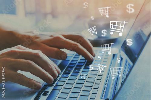 Foto shopping online concept, buy on internet, e-commerce